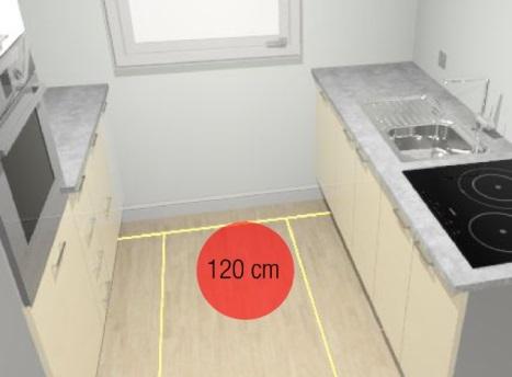 120 cm entre los muebles de la cocina