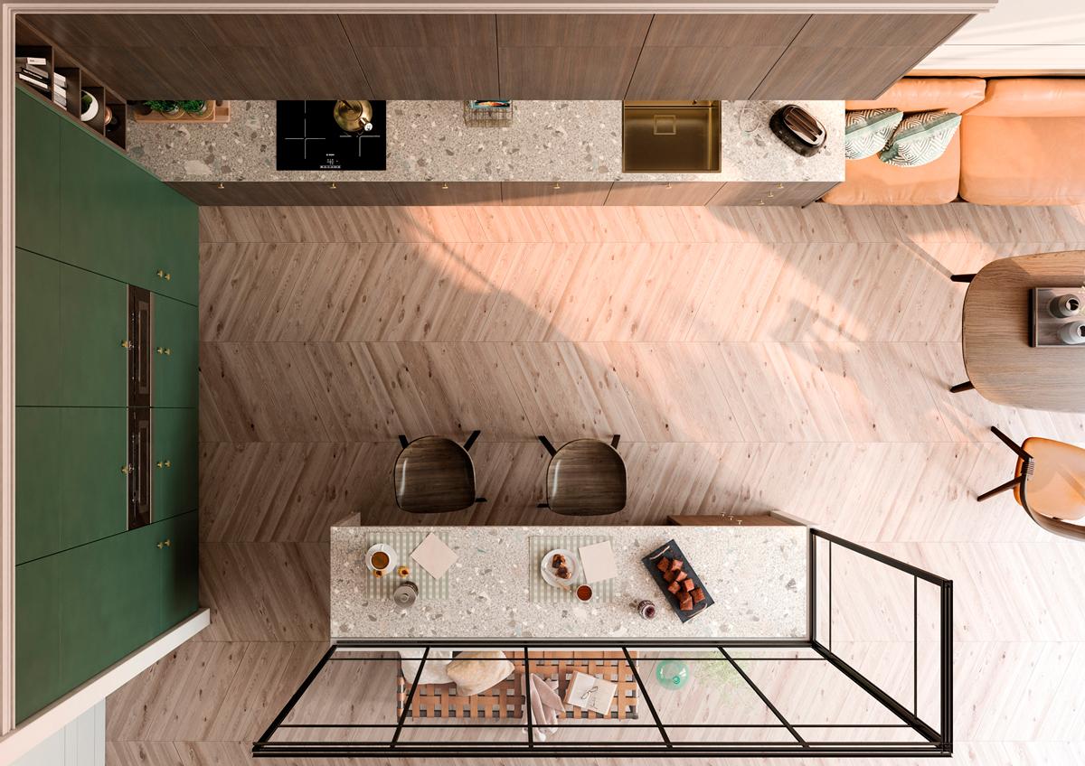 Cocina minimalista - Tmatt Smeraldo y Legno Fumè